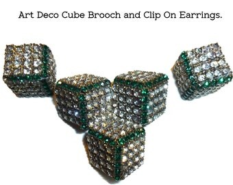Beautiful Rhinestone Cubist Brooch and Clip on Earrings. Circa 1930s/40s. All Stones Present. Unusual & Sophisticated Design. Modernist Deco
