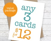 Card Set Funny Cards Greeting Card Bundle Birthday Cards Quirky Snarky Sassy Blank Greeting Cards Card Set of 3 - Pick Any 3 Single Cards