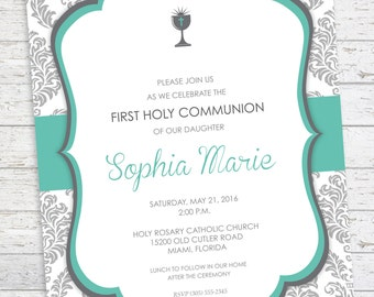 First Communion Invitation - Baptism - Christening - Confirmation - Religious Invitation -
