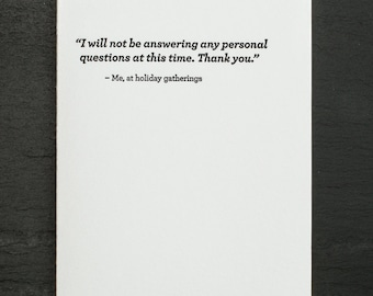personal questions. letterpress card. gold envelope. #687