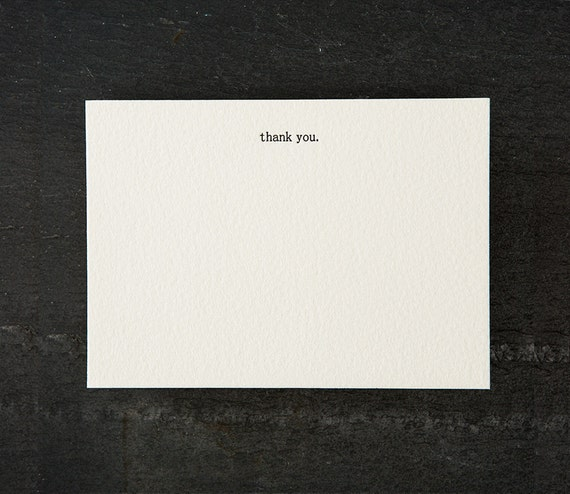 thank you. letterpress printed. flat card. #050