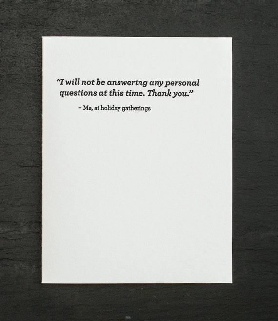 personal questions. letterpress card. gold envelope. #687