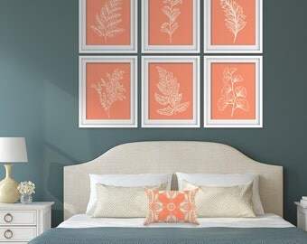 Fields of Forest (Series 6A) Set of 6- Art Prints (Featured in Soft Cream on Cadmium Orange) Botanical Plant Sketch Art Print