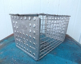 Vintage Locker Basket Industrial Metal Wire Dotty Ends