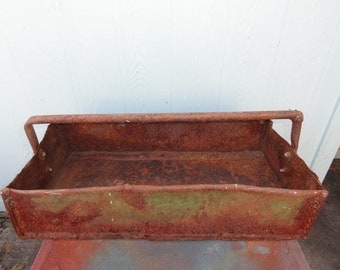 Vintage Tray Tool Tote Organizer Green Rusty Metal Herbs Flower Pot Display