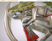 Birthday Sale Sterling Craft by Coro Mexican Themed Painted Brooch Man Taking a Siesta