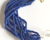 Vintage European Micro Seed Beads - DARK PERIWINKLE BLUE - Mini Hank