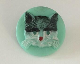Czech Glass Cat Button - Black on Milky Blue