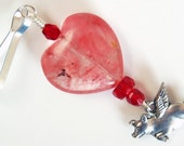 Flying Pig n Heart - Pink, Red n Silver Zipper Pull, Heart Purse Charm, Pigasus Backpack Charm, Pig with Wings Zipper Pull