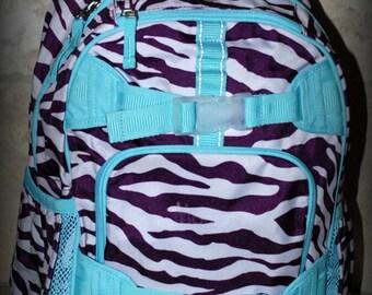 SALE - Purple Zebra Pottery Barn Kids Medium School Backpack- Monogram included