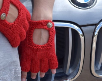 Driving gloves style fingerless gloves red gloves hand knit gift for her womans gift fashion gloves gift under 35 gift for girlfriend