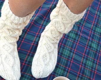 Slouchy knit socks - long socks - cable knit socks - cream ivory - gift for her - aran knit