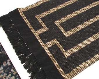 Hand woven Table runner - summer winter pattern Black/blue/red/natural