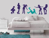 Roller Skater Silhouettes Removable Wall Decals - Pack of 6