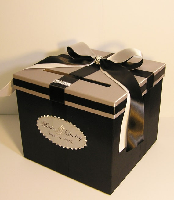 Wedding Card Box Silver and Black Gift box Money Card Holder-Customize ...