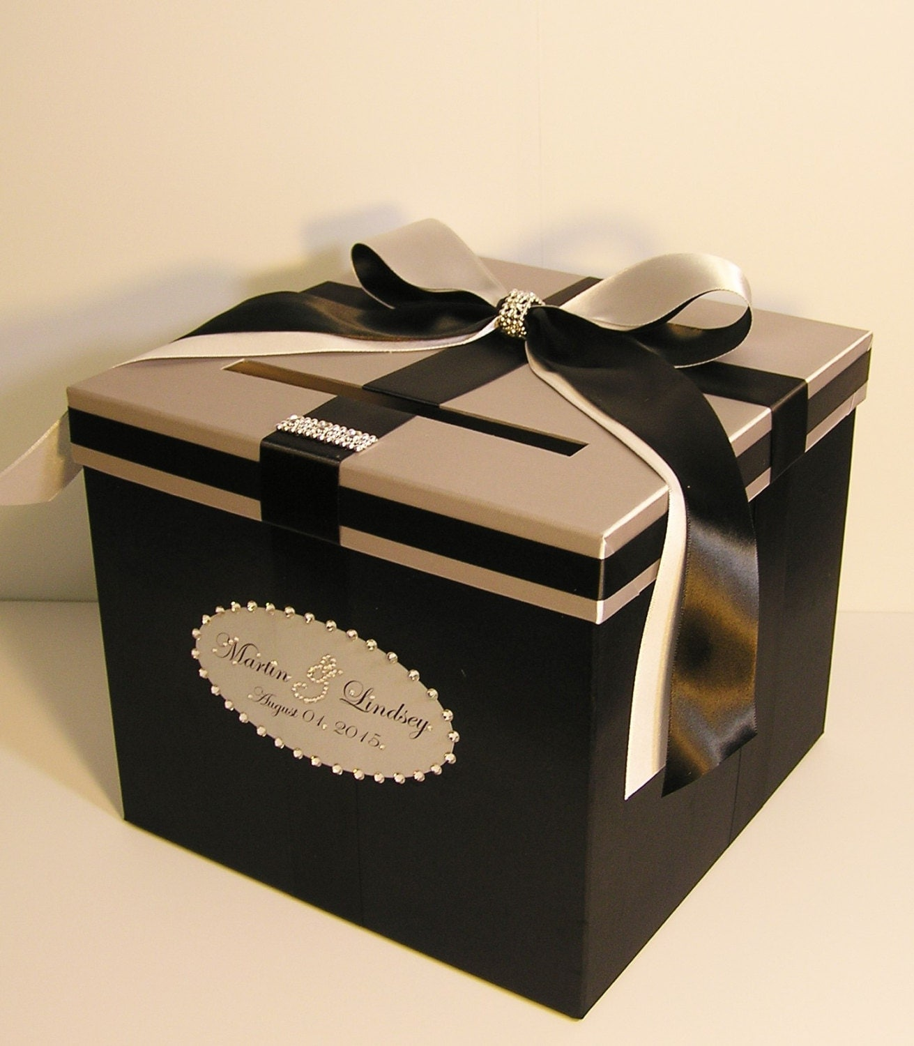 Wedding card box silver and black gift money