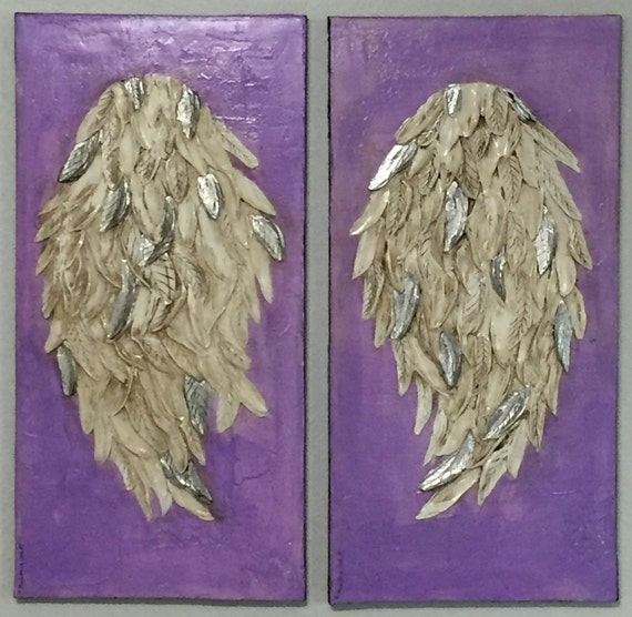 Feather Angel Wings Wall Decor : Angel winngs wall decor feathers art by
