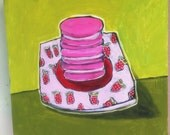 """Strawberry Macaroons - 8""""x8"""" Painting on Wood"""