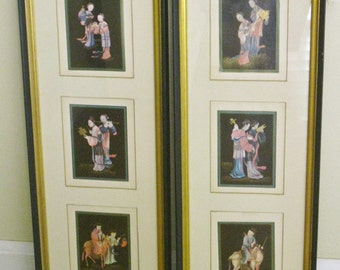 Pair of Framed Vintage Asian Art, Japanese Triptych Story Telling Set of Two