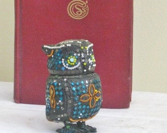 Vintage Jeweled Owl Trinket Box, Small Decorative Owl Figurine Statue, Beaded Woodland Forest Bird