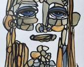 Original Abstract Portrait Face Painting by Julie Steiner ooak