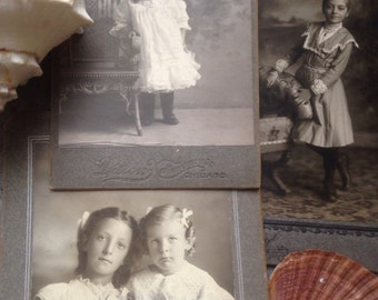 Vintage photos girls, caninet cards antique photos