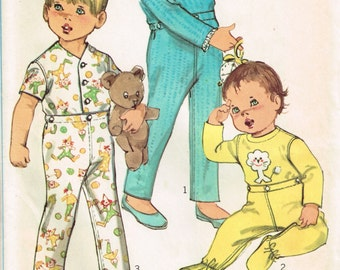 1960s Toddler Pajamas Pattern Simplicity 8076 Size 2 Chest 21 Childrens PJs Cute Vintage 1968 Uncut Sewing Pattern