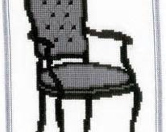 Complete cross stitch kit. Beautiful Baroque-style chair.