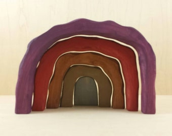 Earth tone cave stacker, Easter tomb, rainbow stacker, customizable cave, dragon cave, dragon lair, dwarf mine, open ended play, wood toys