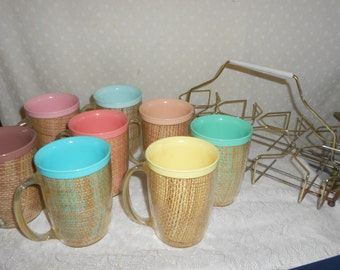Thermal Basket Weave Mugs set of 8 with carrier