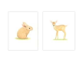 ANIMAL PRINTS NURSERY Art  2 Print Set  baby Boy Nursery Wildlife Nursery Prints  Nursery Art Baby rabbit, fawn, deer prints