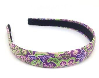 Paisley & Floral Headband - Purple, Pink, Green Headband - Big Girl Headband, Teen Headband, Adult Headband - Preppy Colorful Hard Headband
