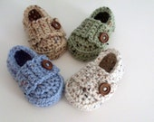 Crochet Baby Loafers, Baby Boy Shoes, Little Button Loafers, Baby Booties, Newborn to Toddler, Many Colors Available