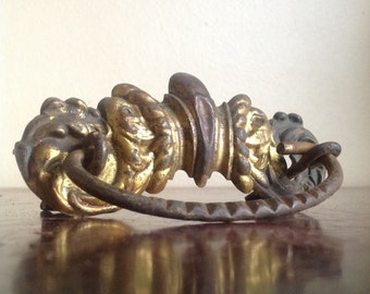 Antique Ornate Drawer Pull. Gold Plated, Patina, Chippy. DIY Restoration.