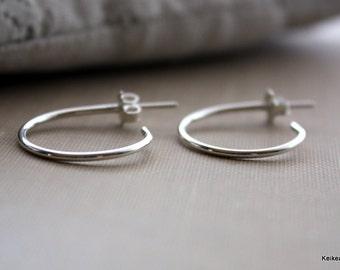 Post Earrings Small Hoop Earrings in Sterling Silver, Ready to Ship