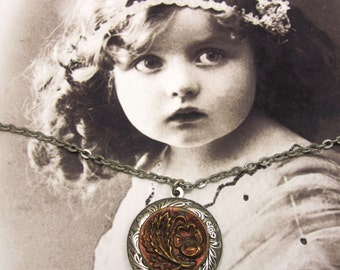Victorian Floral Pansy Button Necklace Copper with Antique Sliver Filagree Setting  #N-72