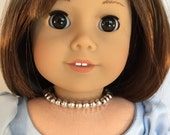 American Girl Sized Silver Beaded Choker Necklace
