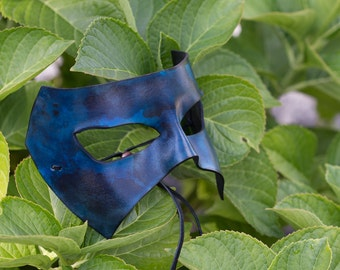 Blue and Black Leather Masquerade Mask