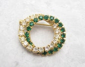 Vintage Rhinestone Circle Brooch Green Jewelry