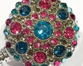 Teal, Fuchsia Pink Vintage Style Rhinestone & Swarovski Crystal Embellished Retractable ID  Tag Badge Reel