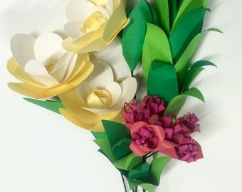 paper flower bouquet, paper bouquet, yellow bouquet,paper foliage, wedding bouquet, paper flower arrangement, bridesmaid bouquet