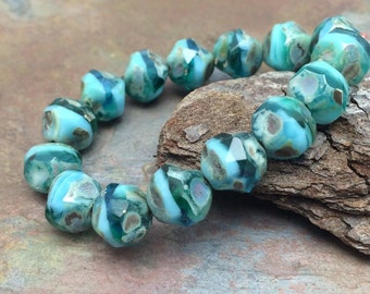 Turquoise Tide 8mm Czech Glass Central cuts - Baroque Beads