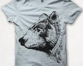 Kids Tshirt Bear Shirt T shirt Screenprinted - Pale Blue
