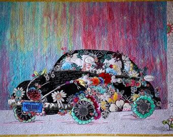 MarveLes COLLAGE PATTERN Lady Love Bug VW volkswagon pastel
