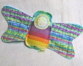 Bitty Butterfly Rainbow Plush - Calico Sunshine Wrap Scrap and Minky - Floppy Wings - Rattle Toy