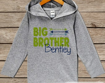 Boys Big Brother Outfit - Custom Big Brother Hoodie - Toddler Boys Pullover Outfit - Novelty Grey Toddler Hoodie - Big Brother Top, Shirt