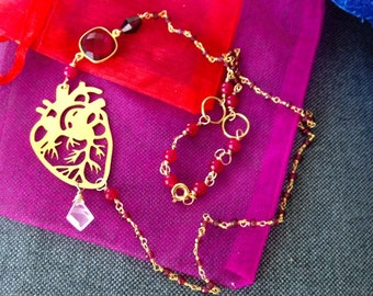Anatomical heart ruby necklace