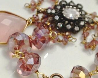 Pink quartz and sapphire antique drop necklace
