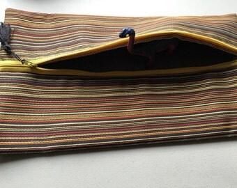 Striped Zipper Pouch w/ Zipper