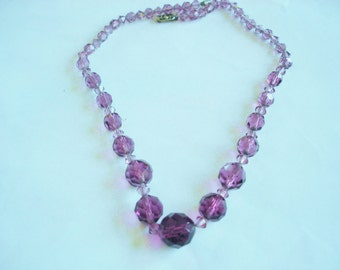 Amethyst Crystal Beads on Chain Link Silver  Necklace